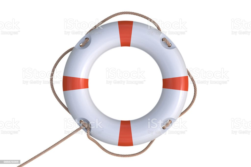 3D rendered illustration of white life buoy. Isolated on white background. stock photo