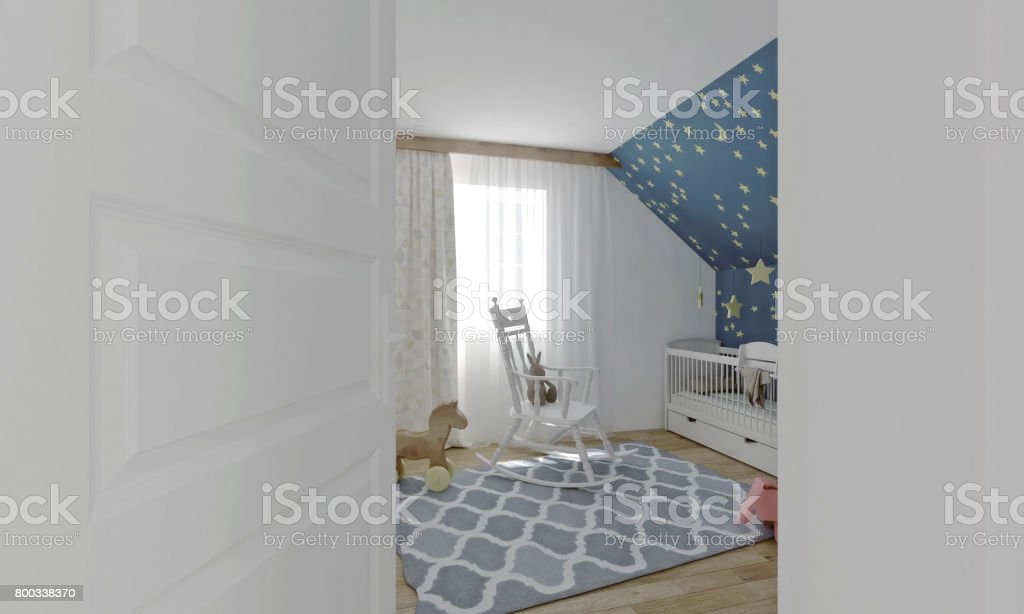 3d Rendered Image Of A Nursery Room Viewed From Entry Door Stock Photo Download Image Now Istock