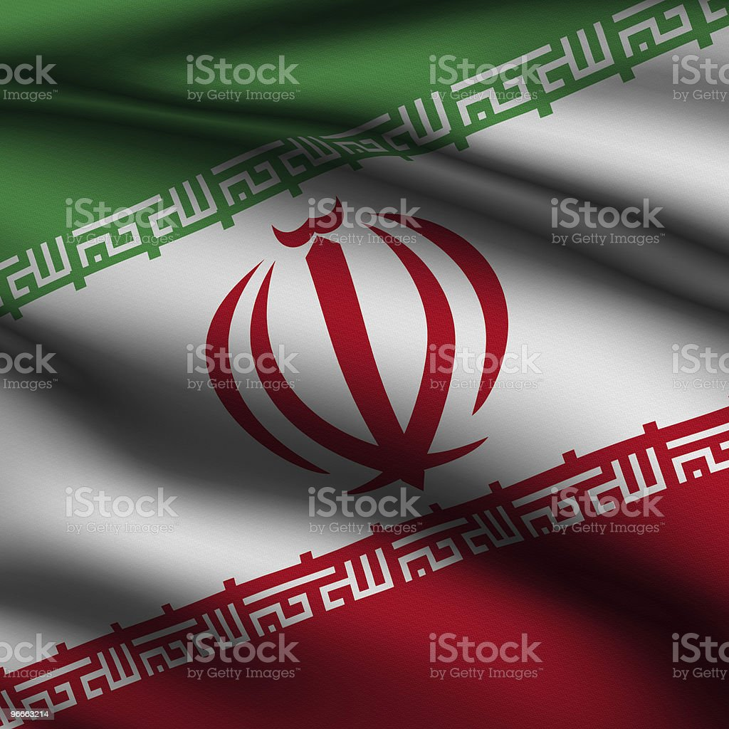 Rendered Iranian Square Flag stock photo