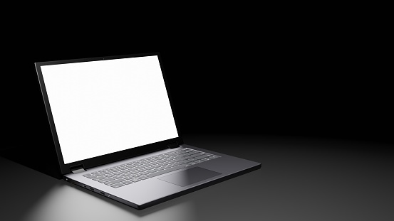 8K Resolution 3D rendered isolated Opened Laptop with Blank Screen Display on the floor in the Dark room with one light source (left side)