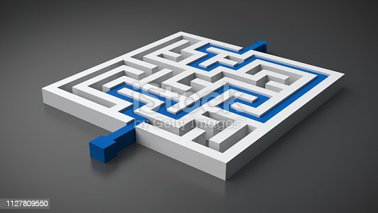 istock rendered maze with a solution 1127809550