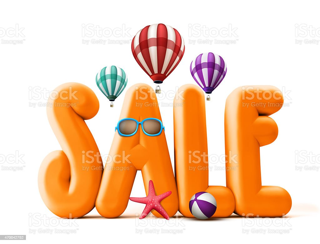 3D Rendered Orange Sale Word Title for Summer Promotions stock photo