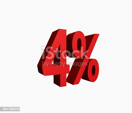 istock 3D Rendered Red 4% Percent off Word 484168328