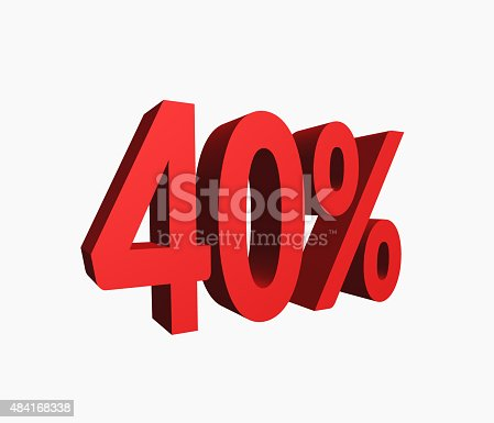 istock 3D Rendered Red 40% Percent off Word 484168338