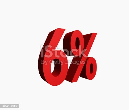 istock 3D Rendered Red 6% Percent off Word 484168330