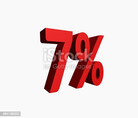 istock 3D Rendered Red 7% Percent off Word 484168332