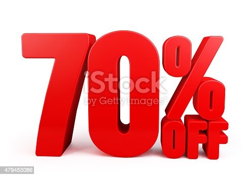 530872967 istock photo 3D Rendered Red 70% Percent off Word Title 479453086
