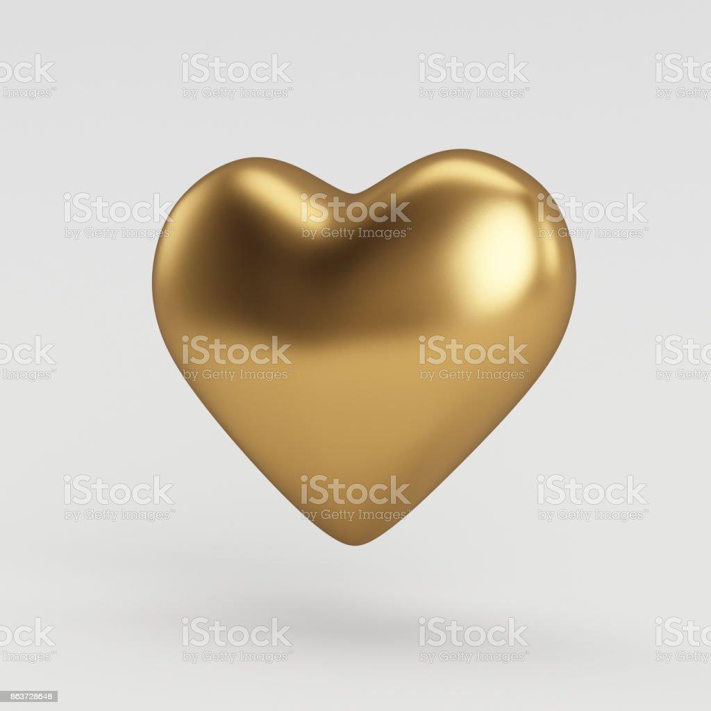 3D renderizados brilhante ouro coração balão em forma de objeto - foto de acervo