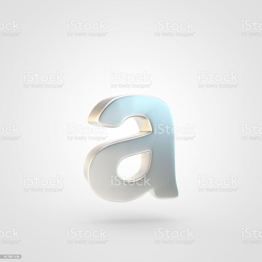 3D renderizados prata letra letra minúscula isolada no fundo branco. - foto de acervo