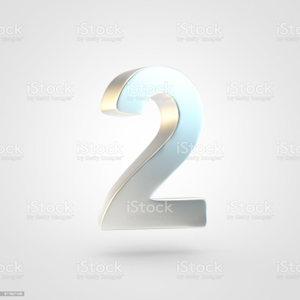3D rendered silver number 2 isolated on white background. stock photo