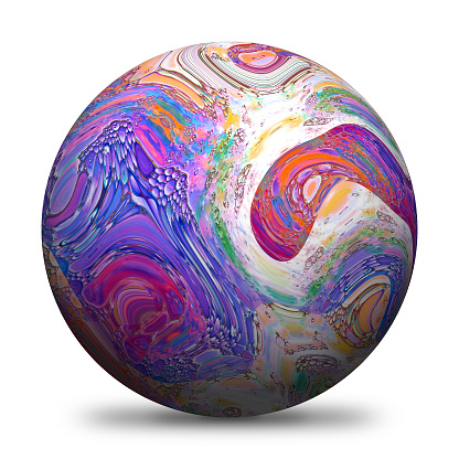 3D rendered sphere with multicolored paintings and drop shadow isolated on white background