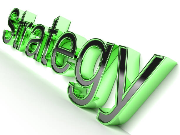3D rendered Strategy word in glossy style stock photo