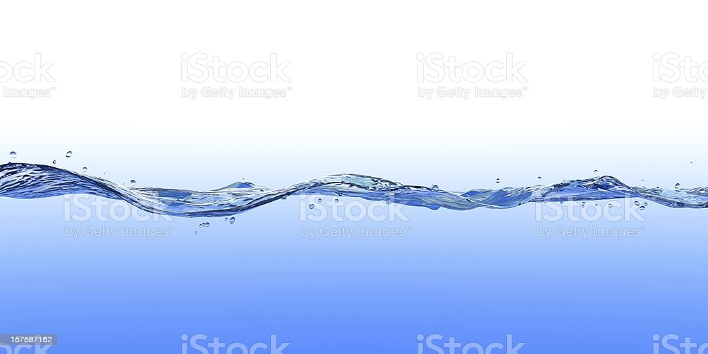 3D Rendered Wave on Blue and White A 3D rendered wave with a white to blue gradient background. Abstract Stock Photo