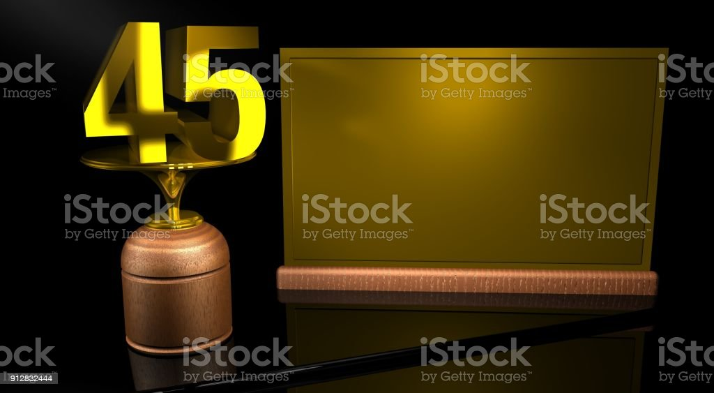 Rendering 3D Wooden trophy with number 45 in gold and golden plate with space to write on mirror table in black background stock photo