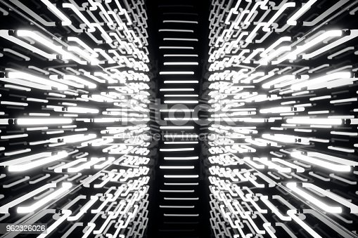 962326404istockphoto 3D rendering abstrac futuristic dark corridor with neon lights. Glowing light. Futuristic architecture background 962326026