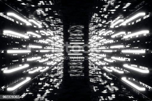 962326404istockphoto 3D rendering abstrac futuristic dark corridor with neon lights. Glowing light. Futuristic architecture background 962326062