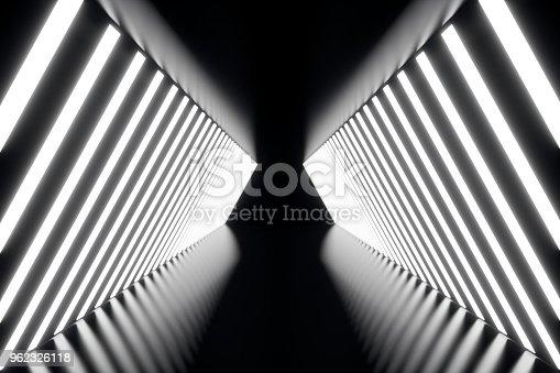 962326404istockphoto 3D rendering abstrac futuristic dark corridor with neon lights. Glowing light. Futuristic architecture background 962326118