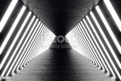 962326404istockphoto 3D rendering abstrac futuristic dark corridor with neon lights. Glowing light. Futuristic architecture background 962326132