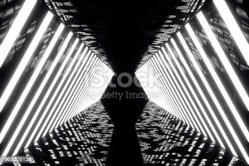 962326404istockphoto 3D rendering abstrac futuristic dark corridor with neon lights. Glowing light. Futuristic architecture background 962326138