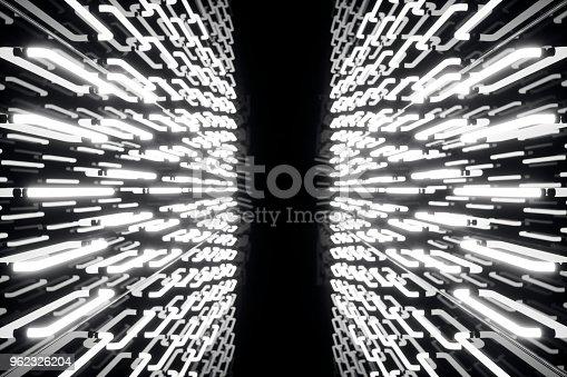 962326404istockphoto 3D rendering abstrac futuristic dark corridor with neon lights. Glowing light. Futuristic architecture background 962326204