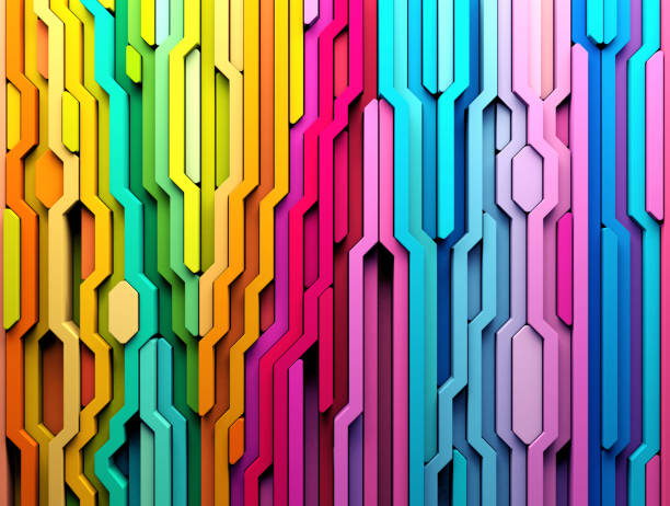 3D rendering abstract background of multi-colored lines shapes stock photo