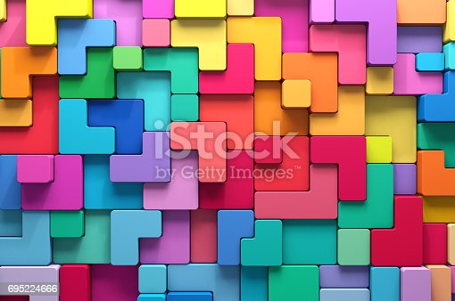 istock 3D rendering abstract background of multi-colored rounded shapes 695224666