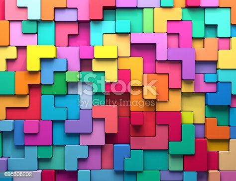 istock 3D rendering abstract background of multi-colored rounded shapes 695308202
