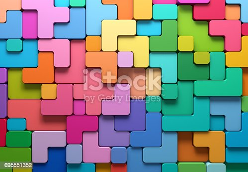 istock 3D rendering abstract background of multi-colored rounded shapes 695551352