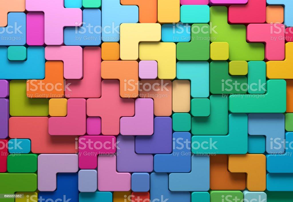 3D rendering Resumen antecedentes de multicolores formas redondeadas - foto de stock