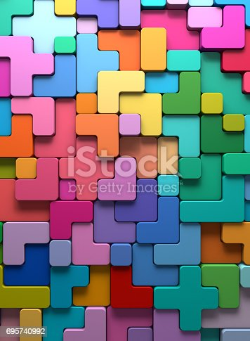 istock 3D rendering abstract background of multi-colored rounded shapes 695740992