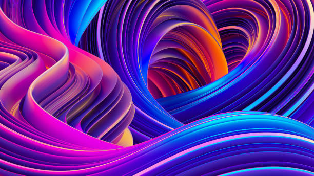 3d rendering abstract background with holographic twisted shapes in motion - wir kształt zdjęcia i obrazy z banku zdjęć