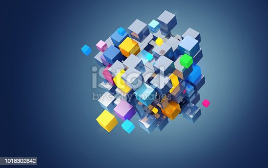 istock 3D rendering abstract block of color cubes, on blue background. File contains a path to isolation. 1018302642