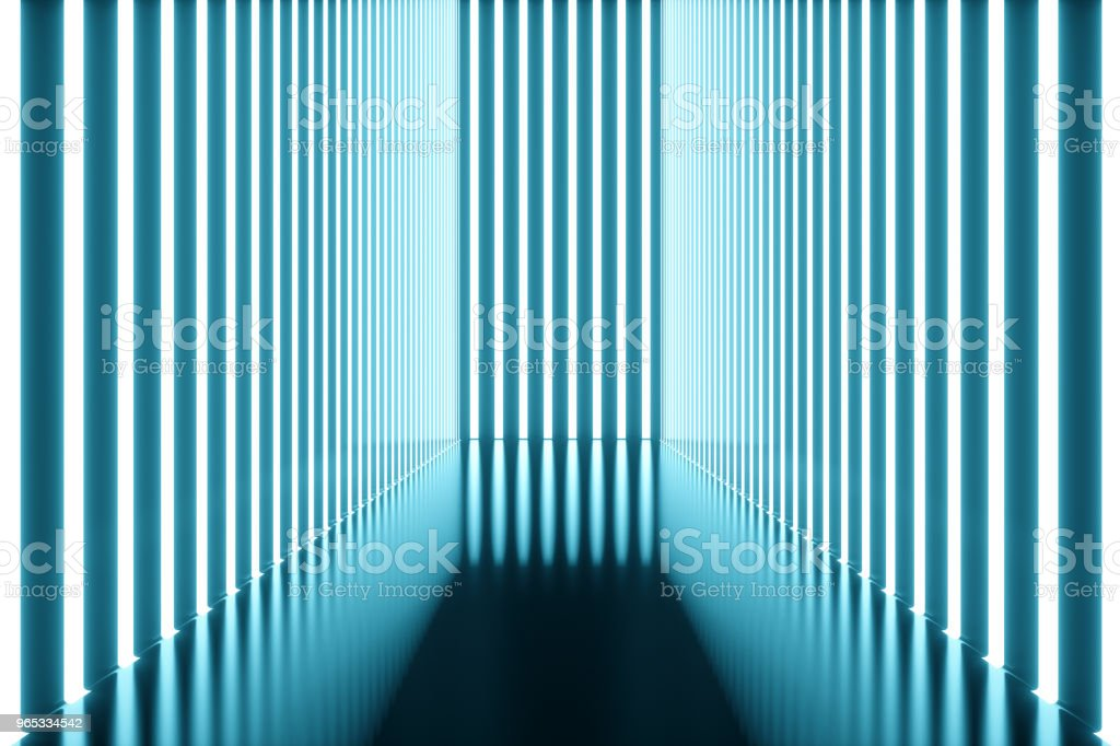 3D rendering Abstract blue room interior with blue neon lamps. Futuristic architecture background. Mock-up for your design project. royalty-free stock photo