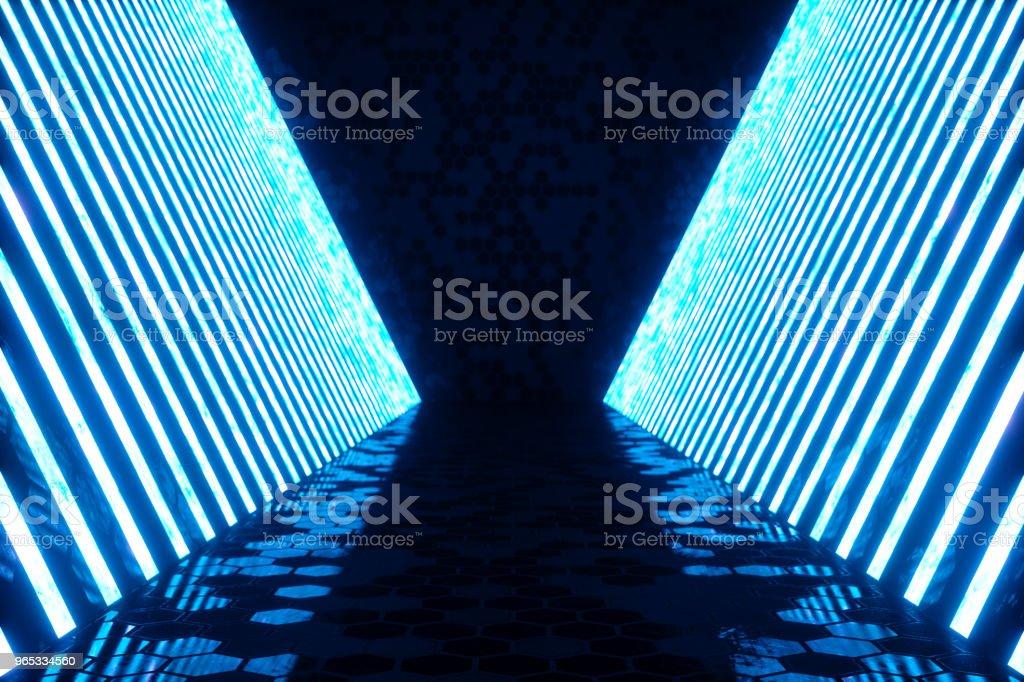 Rendu 3D abstrait bleu intérieur avec lampes néon bleu. Contexte de l'architecture futuriste. Maquette pour votre projet de conception. - Photo de Abstrait libre de droits