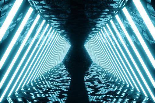 블루 네온 램프와 함께 3d 렌더링 추상 블루 룸 인테리어 미래 건축 배경입니다 디자인 프로젝트에 대 한 모형입니다 0명에 대한 스톡 사진 및 기타 이미지