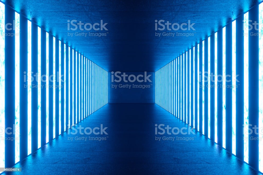 3D rendering Abstract blue room interior with blue neon lamps. Futuristic architecture background. Mock-up for your design project. zbiór zdjęć royalty-free