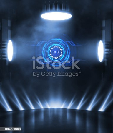 1039536404istockphoto 3D Rendering abstract empty street scene background with abstract spotlights elegant futuristic light and reflection. Racing cars of the future. 1185991958
