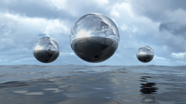 3d rendering abstract liquid transparent sphere above water - mercury metal stock photos and pictures