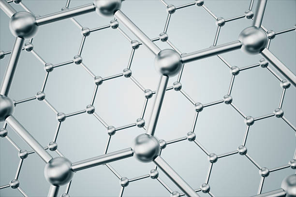 rendering abstract nanotechnology hexagonal geometric form close-up, concept graphene - graphene stock photos and pictures