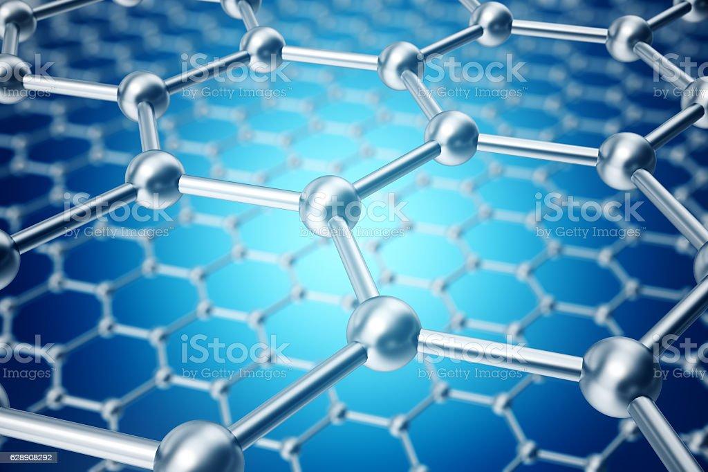 rendering abstract nanotechnology hexagonal geometric form close-up, concept graphene stock photo