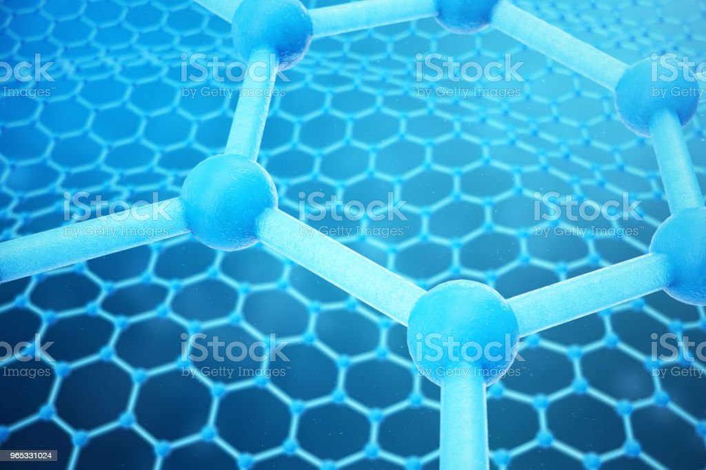 3D rendering abstract nanotechnology hexagonal geometric form close-up. Graphene atomic structure concept, carbon structure. zbiór zdjęć royalty-free