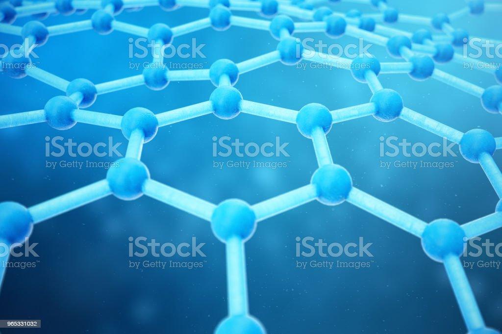 Rendu 3D abstrait nanotechnologie forme géométrique hexagonale gros plan. Concept de structure atomique de graphène, structure en carbone. - Photo de Abstrait libre de droits