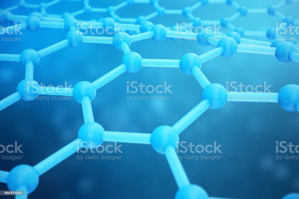 3D rendering abstract nanotechnology hexagonal geometric form close-up. Graphene atomic structure concept, carbon structure. zbiór zdjęć royalty-free