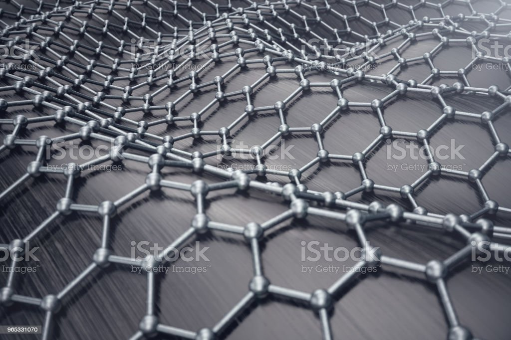 3D rendering abstract nanotechnology hexagonal geometric form close-up. Graphene atomic structure concept, carbon structure. royalty-free stock photo