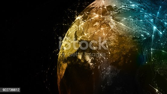 istock 3D rendering abstract of world network, internet and global connection concept 922736612