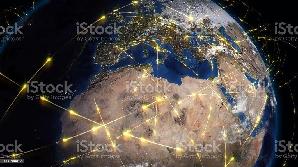 Resumen de Render 3D de la red mundial, internet y conexión global concepto foto de stock libre de derechos