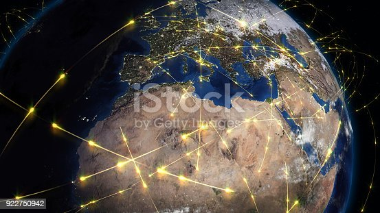 istock 3D rendering abstract of world network, internet and global connection concept 922750942
