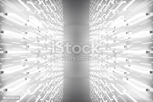 962326404istockphoto 3D rendering abstract room interior with neon lights. Futuristic architecture background. Mock-up for your design project 962326234