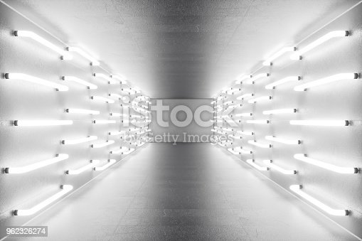 962326404istockphoto 3D rendering abstract room interior with neon lights. Futuristic architecture background. Mock-up for your design project 962326274