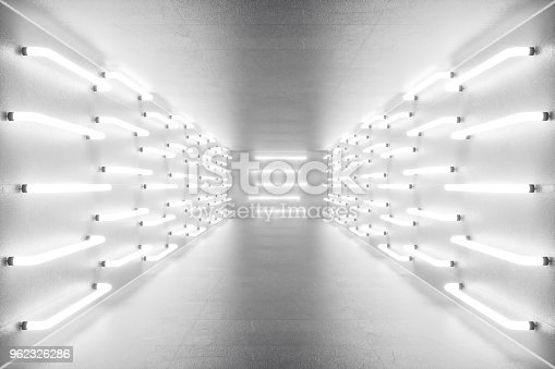 962326404istockphoto 3D rendering abstract room interior with neon lights. Futuristic architecture background. Mock-up for your design project 962326286